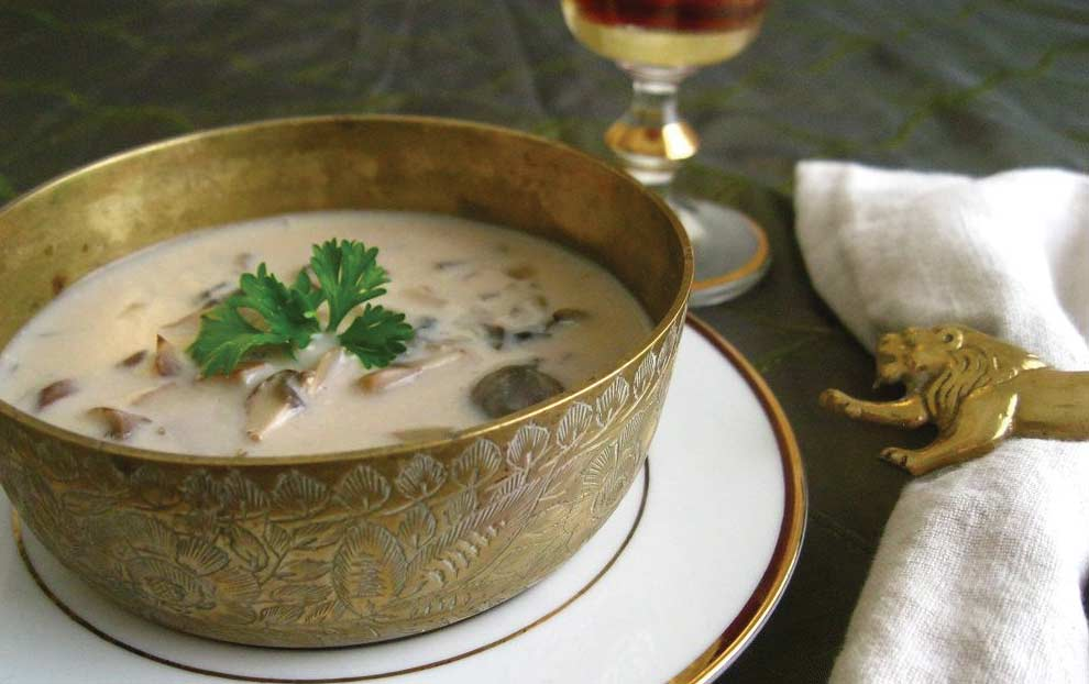 سوپ سرد جو دوسر پرک با قارچ
