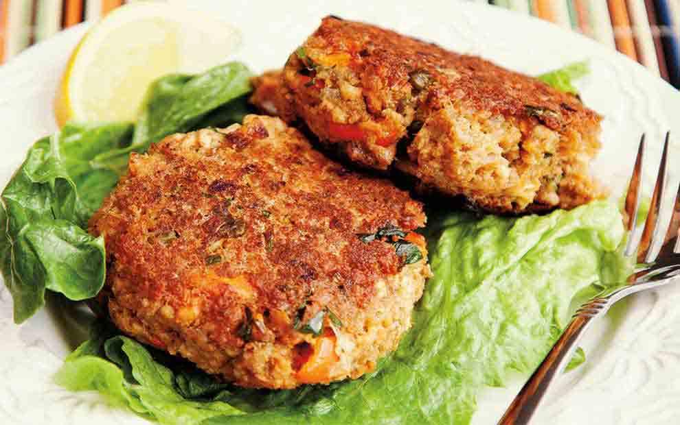 کتلت ماهی سالمون با کینوا